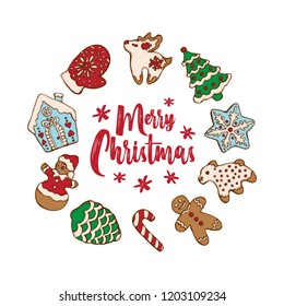 Set of christmas homemade gingerbread cookies isolated on the white background. Christmas tree, snowflake, deer and snowman.  Vector illustration  for menu design, cafe decoration, delivery box..