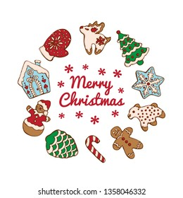 Set of christmas homemade gingerbread cookies isolated on the white background. Christmas tree, snowflake, deer and snowman.  Vector illustration  for menu design, cafe decoration, delivery box