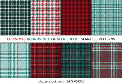 Set of christmas houndstooth and glen check seamless patterns