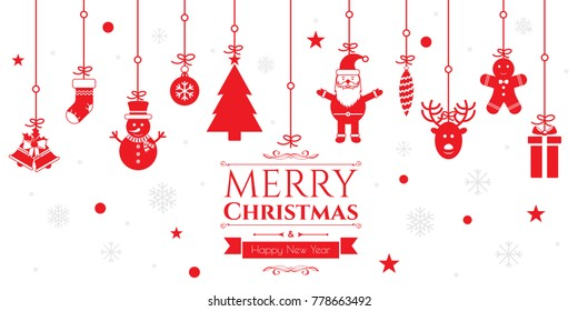 Set of christmas icons in internet banner in vector illustration. Icon of bell, stocking, christmas tree, reindeer, present, Santa Claus, snowman. Template for internet and business.