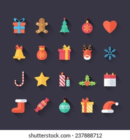 Set of Christmas Icons Isolated. Flat Style with Long Shadows. Modern Trendy Design. Vector Illustration.