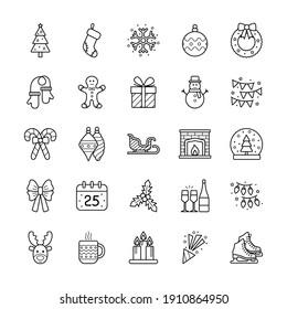 Set of christmas icons on white background, vector illustration