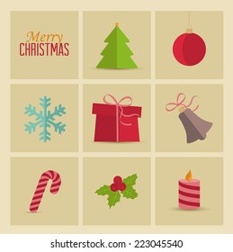 Set of Christmas icons, Christmas retro card