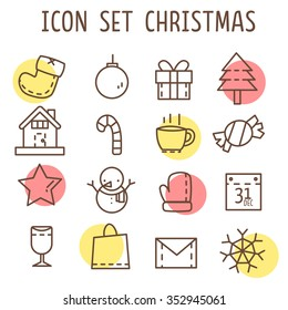 set of christmas' icons that consist of sock,snowman,star,calendar,tree,candy,snow,home,letter,vine,present and etc  isolated on white background