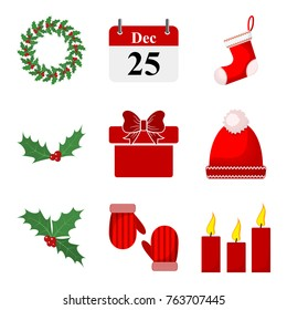 Set of Christmas icons. Vector illustration. Traditional Christmas decoration in flat design.