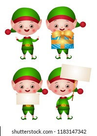 Set of christmas illustrations of an Elf or leprechaun with a blank sign and a gift