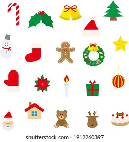 Set of Christmas illustrations such as Santa Claus and tree
