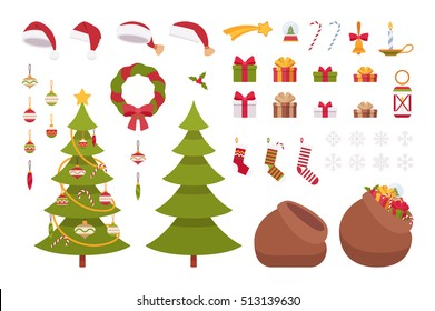 Set of Christmas items isolated against white background. Cartoon vector flat-style illustration