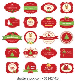 Set of christmas label and background.christmas tag. sign and symbol