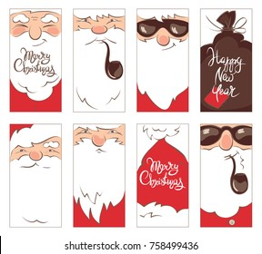 Set Christmas label / Collection vector illustrations of Santa Claus