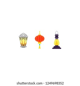 A set of Christmas lamps. Chinese light. New Year. Pixel Art. Game set. Festive symbols. Smilies for chat.