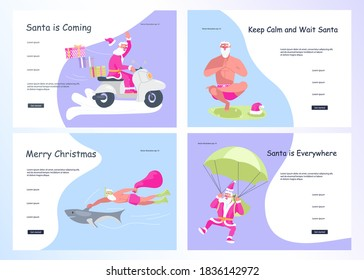 Set of Christmas Landing web page template. Cute Santa Claus in different scenes brings gifts. Social media banner for sale, offer, discount. Flat Art Vector Illustration