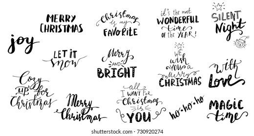 Set of Christmas lettering handwritten