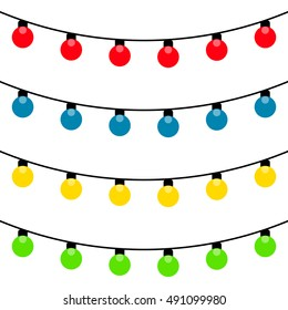 Set of Christmas lights garland, vector decoration for the holiday