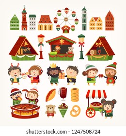 Set of Christmas market elements. Classic European buildings, tents selling goods, people cooking winter treats. Vector illustrations.