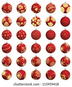 Set of Christmas (New Year) balls. Vector illustration.