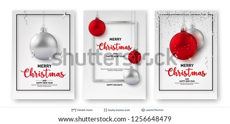 set of christmas and new year banner templates shiny toy balls and text on light