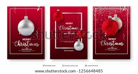 set of christmas and new year banner templates shiny toy balls and text on red