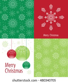 Set of Christmas and New Year cards with seamless winter patterns.