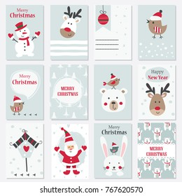Set of Christmas and New Year cards with cute animals, Santa and snowman