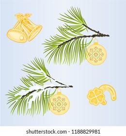 Set of Christmas and New Year decoration Christmas ornaments with and Cloverleaf and horseshoe bells fir tree branches vintage vector illustration editable hand draw
