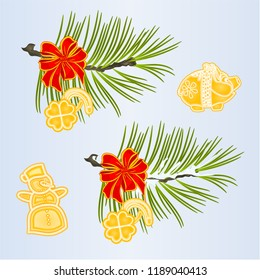 Set of Christmas and New Year decoration  ribbon  with Cloverleaf and horseshoe piggy snowman fir tree branches vintage vector illustration editable hand draw