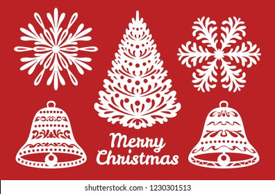 Set of Christmas or New Year decoration. Snowflakes, bells, Christmas tree. Templates for laser cutting, plotter cutting or printing. Elements of festive background.