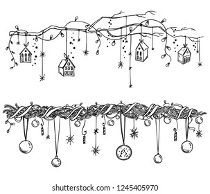 Set of christmas and New Year decorations. Garlands and lights