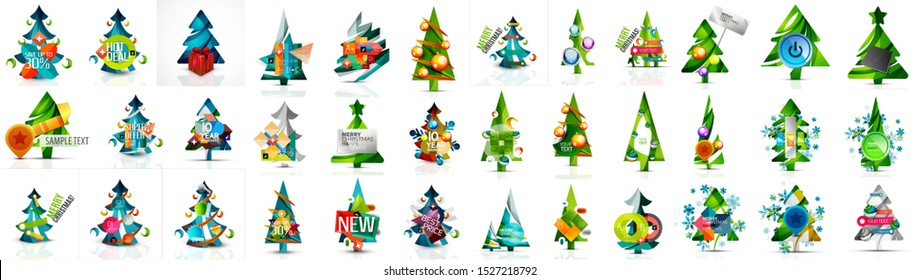 Set of Christmas and New Year design elements. Labels, buttons, discount price tags, promotion banners and other templates. Snowflakes, Christmas pine trees and other holiday icons with place for text