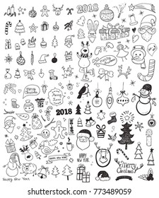Set of Christmas and New Year Doodles