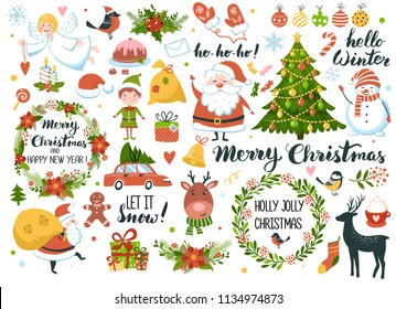 Set of Christmas and New Year element with Santa, snowman, deer, fur-tree, wreaths and other. Perfect for scrapbooking, greeting card, party invitation, poster, tag, sticker kit. Hand drawn style