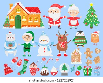 Set of Christmas and New Year elements. Santa Claus & Mrs. Claus. Funny Elf, deer, bear, snowman and penguin. Winter Holidays. North Pole.Vector illustration.