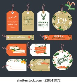Set of Christmas and New Year gift tags