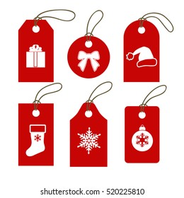 Set of Christmas and New Year gift tags. Sale promotion and gift card vectors in different shapes.