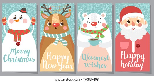 Set of Christmas and New Year greeting cards. Vector illustration.