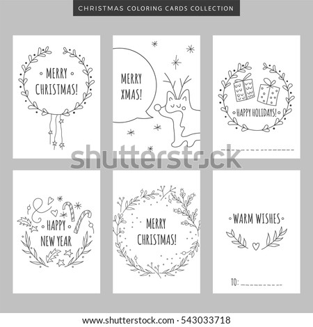 set of christmas and new year greeting cards hand drawn vector coloring pages illustration for
