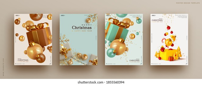 Set of Christmas and New Year holiday gift cards. Xmas banners, web poster, flyers and brochures, greeting cards, group bright covers. Design realistic Christmas decoration objects gift box and ball.