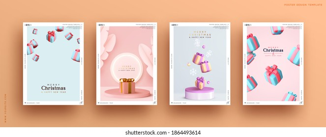 Set of Christmas and New Year holiday gift cards. Xmas banners, web poster, flyers and brochures, greeting cards, group bright covers. Design with realistic Christmas decoration objects Gifts Boxes
