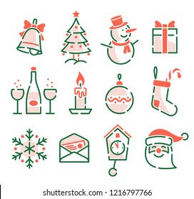 Set of Christmas New Year icons. Retro vintage outline style.