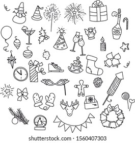 Set of Christmas and New Year Icons isolated