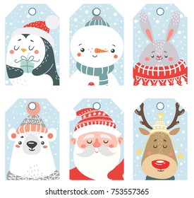 Set of Christmas and New Year labels with animals and Santa. Vector illustration.