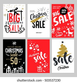 Set of Christmas and New Year mobile sale banners. Vector illustrations of online shopping website and mobile website banners, posters, newsletter designs, ads, coupons, social media banners.