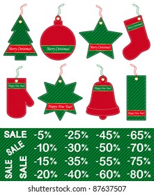 Set of Christmas and New Year price tags