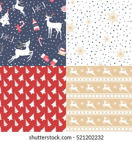 Set of Christmas and New Year seamless pattern. Good for design cards or posters. Vector hand drawn. Seasonal holiday decoration. For wrapping paper pattern.