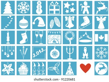 A set of Christmas and New Year symbols