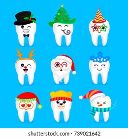 Set of Christmas and New year tooth characters. Emoticons with different facial expressions. Funny dental care concept. Illustration isolated on blue background.