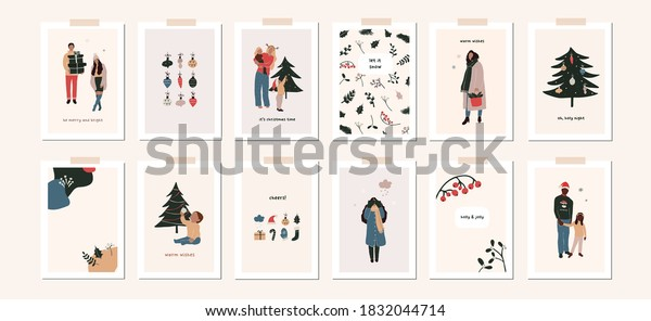 Set of christmas new year winter holiday greeting cards with family kids, xmas decoration. Vector abstract christmas people trendy illustration in hand drawn flat style