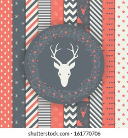 Set of Christmas and New Year's backgrounds. Black and gold modern holiday pattern. Elegant laurel wreath with deer head.
