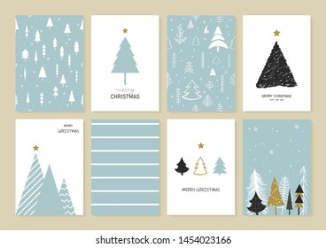 Set of Christmas and New Year's greeting card decorated with Christmas tree, Snowflakes and Decorations. Cartoon style. Vector illustration.