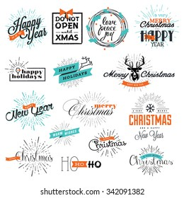 Set of Christmas and New Year's signs for greeting cards, gift tags, Christmas sale, web design, product promotion, e-commerce and marketing material.
